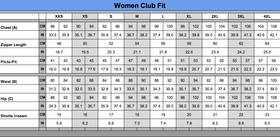 Women unisex club fit sizing chart