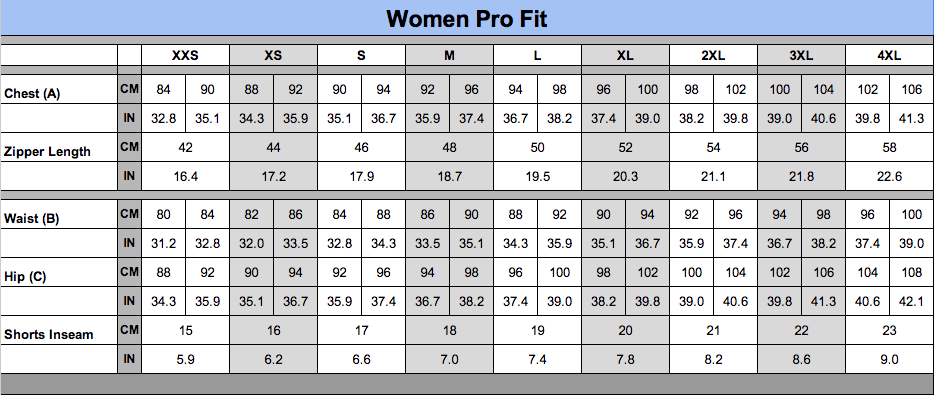 Women-Unisex-Pro-Fit-Sizing-Chart